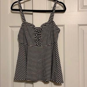 Torrid black and white stripe peplum tank top sz00